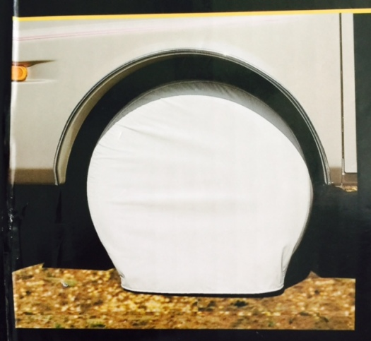 A Typical RV Tire Cover installed properly
