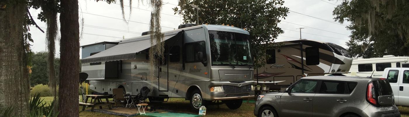 Rainy Setup At Three Flags Campground In Wildwood Florida